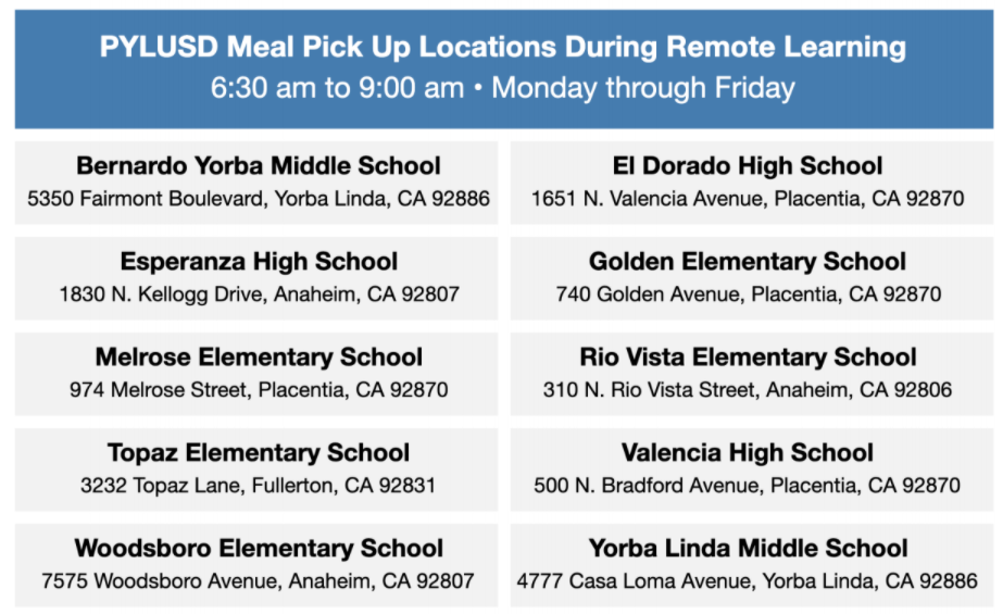 PYLUSD Meal Pick Up Locations During Remote Learning