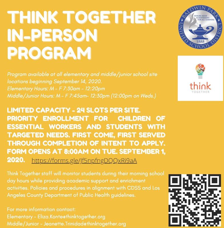 Enrollment for the 2020-21 Think Together In-Person Hub program will be open to children of essential workers and students with targeted needs, beginning Sept. 1 on a first come first serve basis.