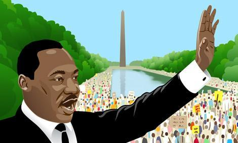 Martin Luther King, Jr. speaking at the Washington Monument drawing