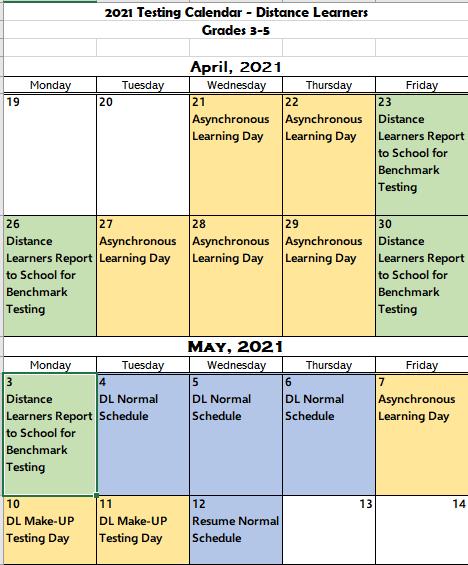 3-5 DL Testing Calendar