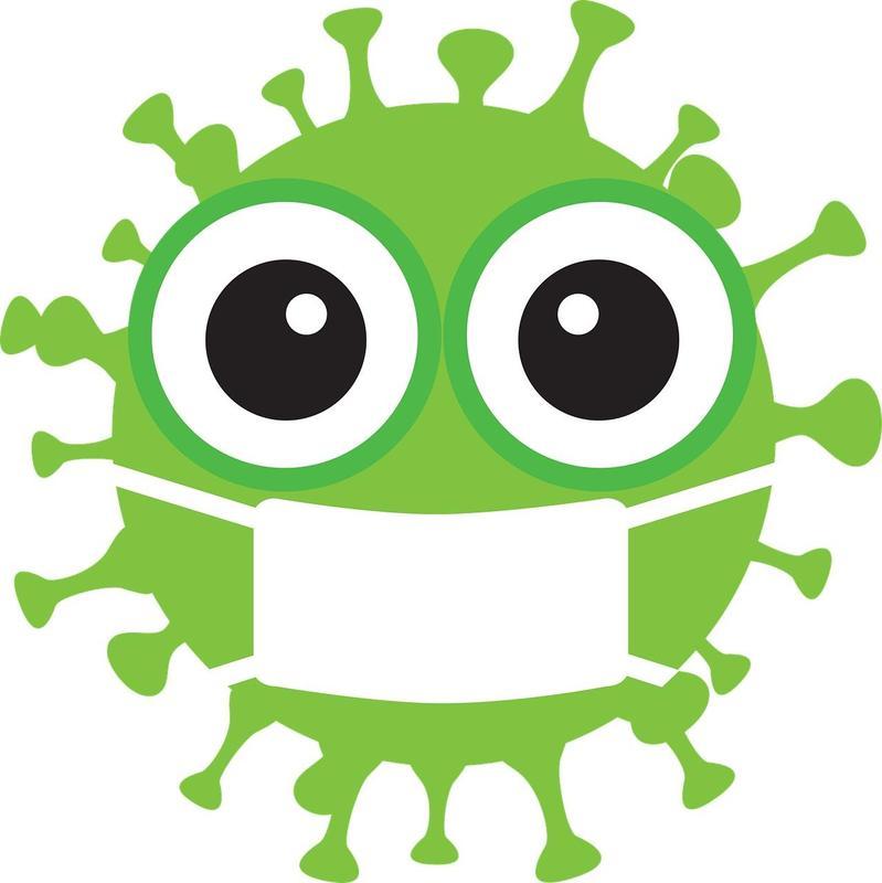 Illustration of coronavirus with mask