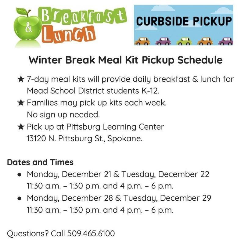 Winter Break Meal Kit Pickup Schedule