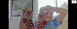 Showing crazy socks for Virtual Spirit Week