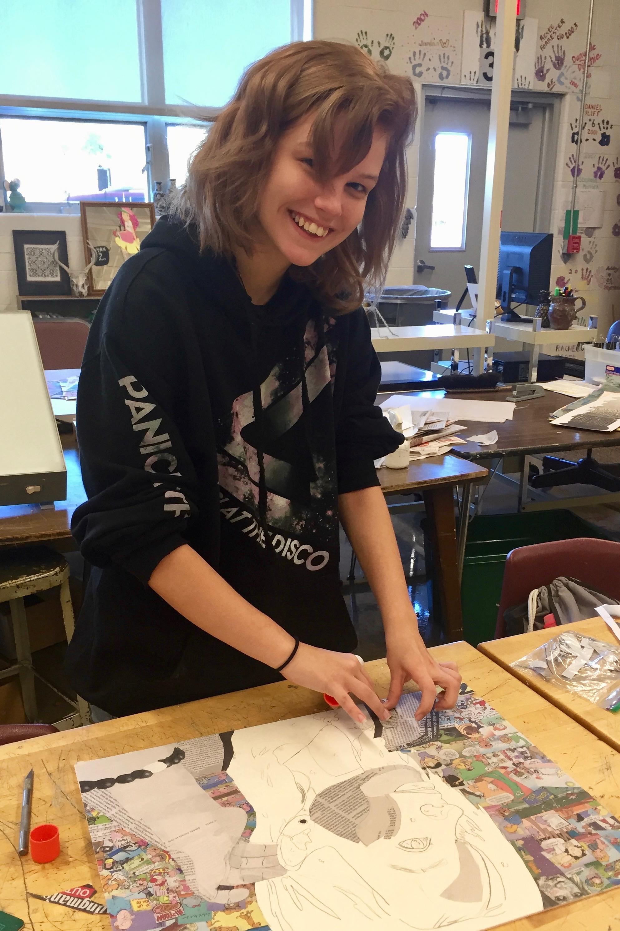 Maria Privett making her project