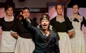 photo of Trix, the Aviatrix, singing in The Drowsy Chaperone at OLSH