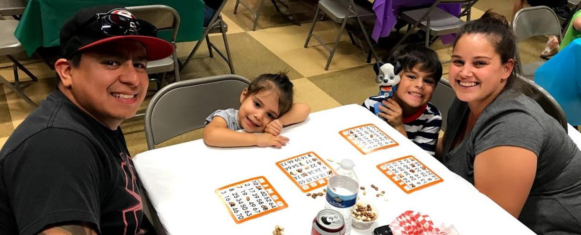 Family enjoying bingo night