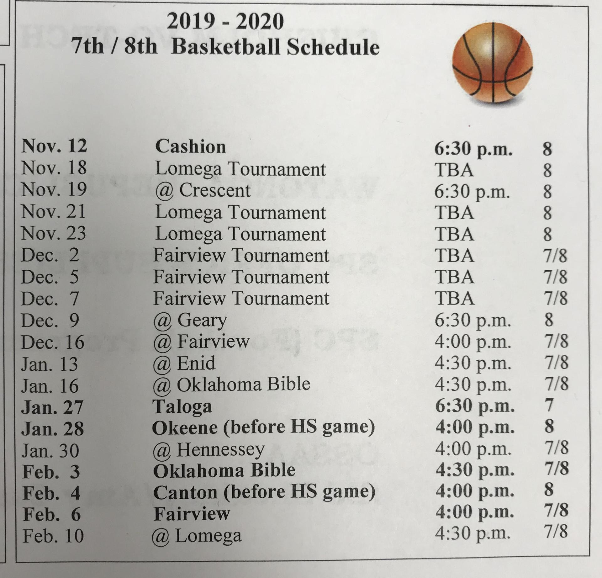2019-2020 7th/8th Basketball