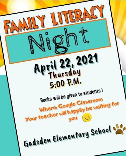 Literacy Night on 4/22/21 at 5:00 p.m. on Teachers Google Classroom Featured Photo