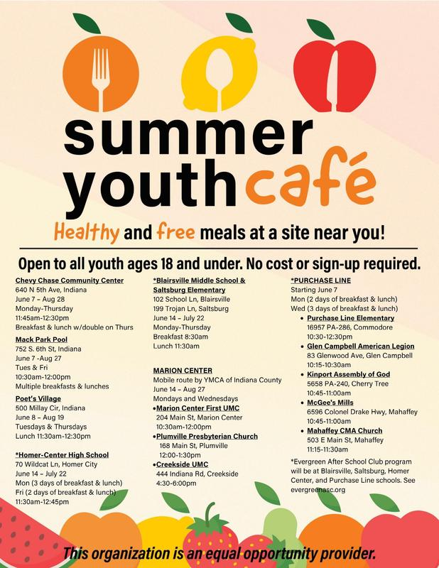 Summer Youth Cafe food sites