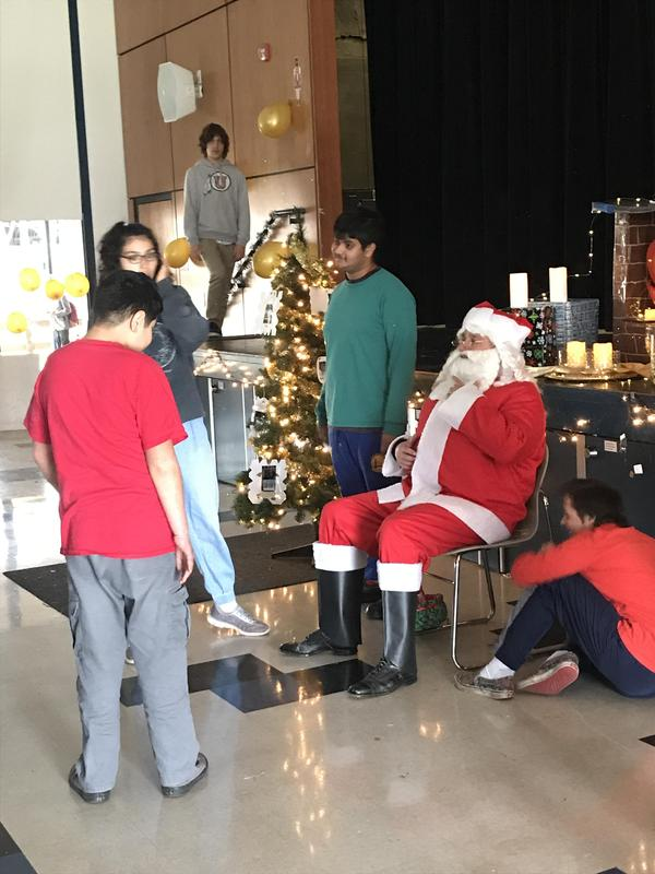 students visiting santa claus