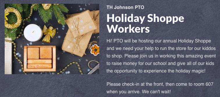 Holiday Shop Volunteers needed