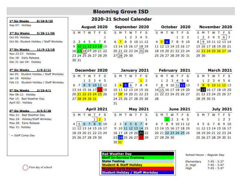 Revised 2020-2021 School Calendar Thumbnail Image