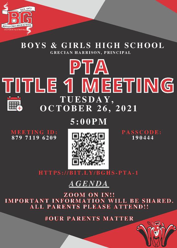 BGHS Title 1 Parent Meeting -  Oct 26 2021 - 5:00 PM