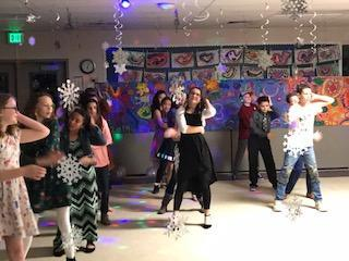 students dancing at winter dance