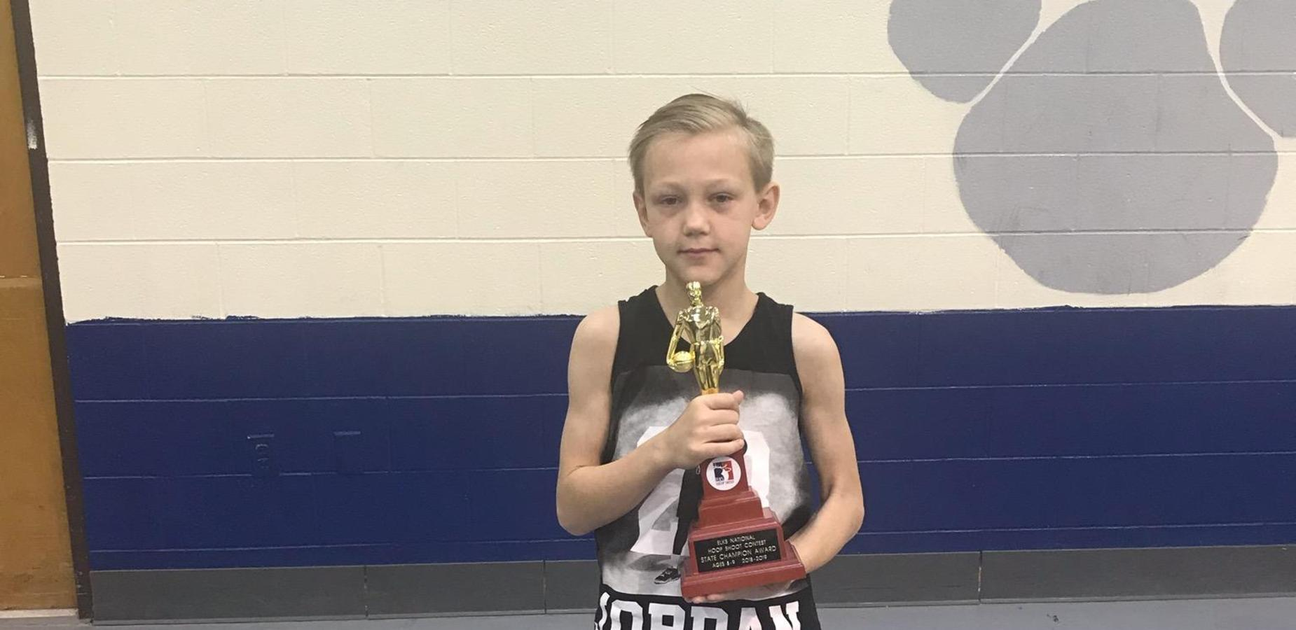 Aiden McCalmon wins the Elks Hoop Shoot State Competition in Ocean Springs, MS.