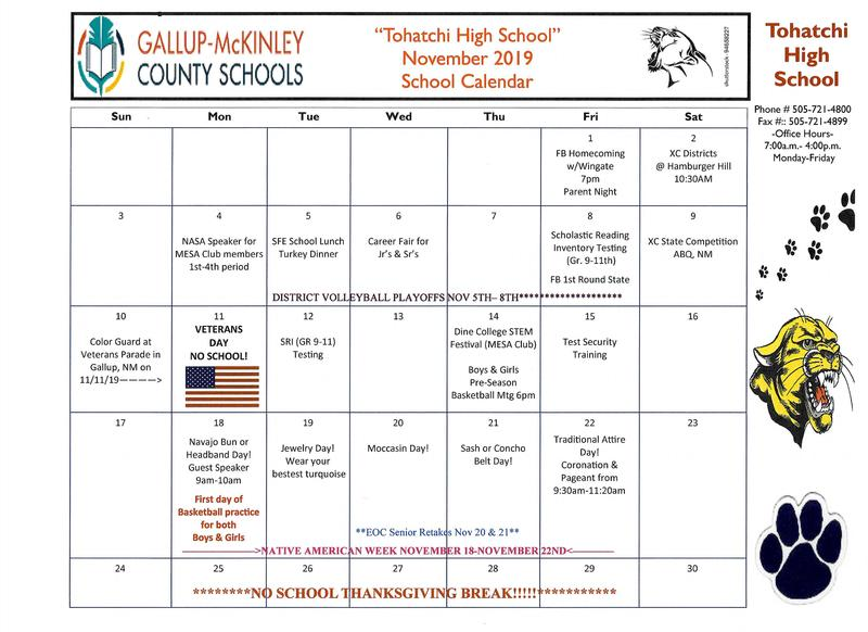 NOVEMBER SCHOOL CALENDAR AS OF 11/04/19 Featured Photo