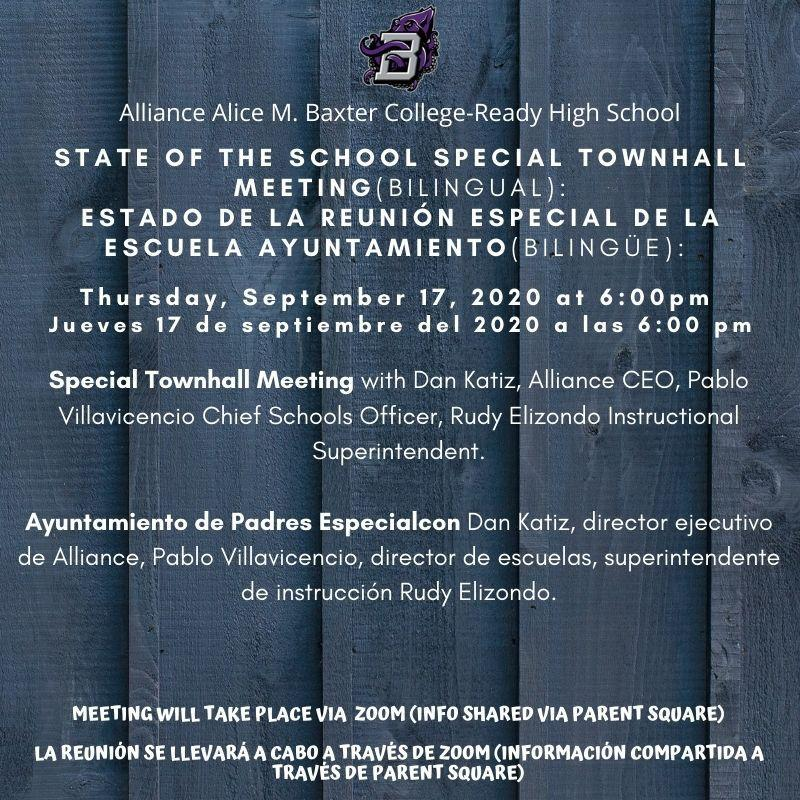 State of the School Special Townhall Meeting 09/17/2020 at 6:00pm Thumbnail Image