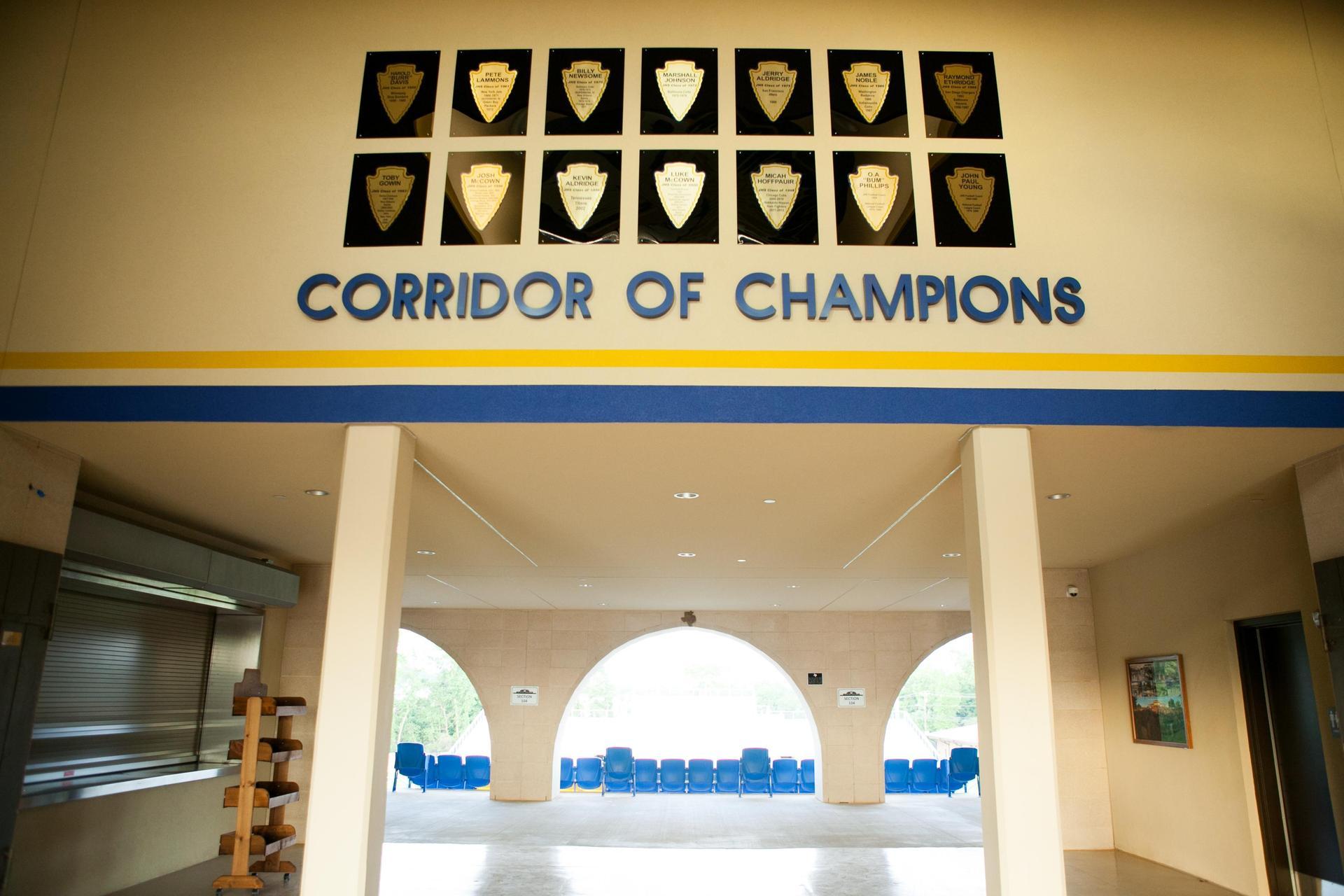 corridor of champion plaques
