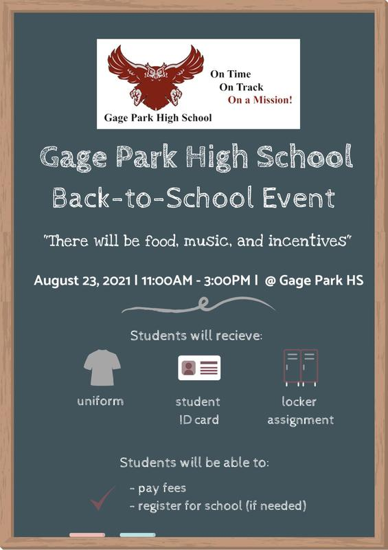 Gage Park HS Back to School Orientation: August 23, 2021 Featured Photo