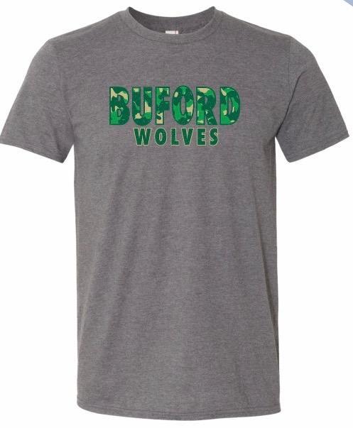 Unisex grey soft Buford Camo T-shirt