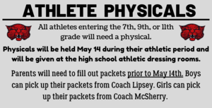 Athlete Physicals May 14