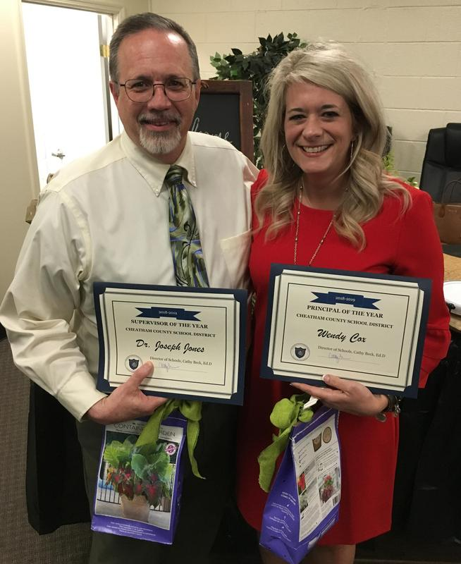 Supervisor of the Year Dr. Joseph Jones and Principal of the Year Wendy Cox.