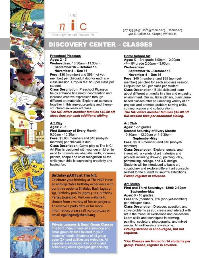 Nicolaysen Art Museum Discovery Center Classes Flyer