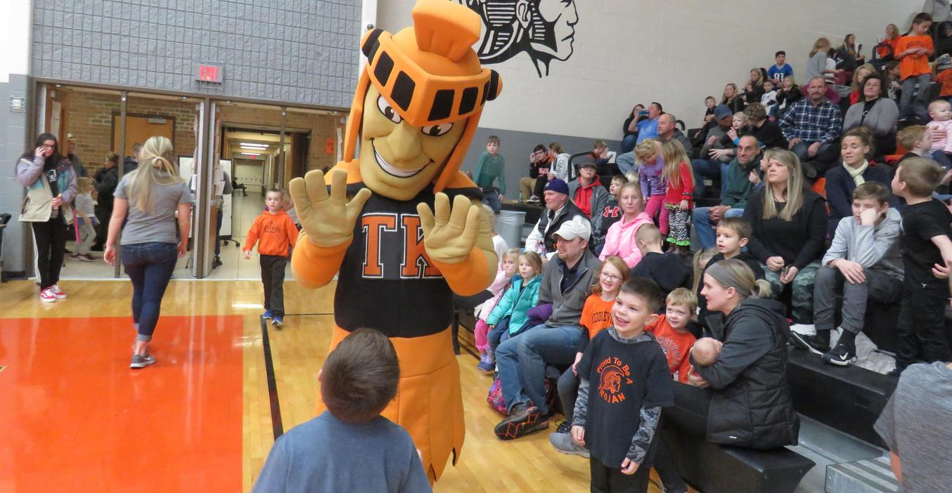The TK Trojan greets students during the Battle of the Buildings.