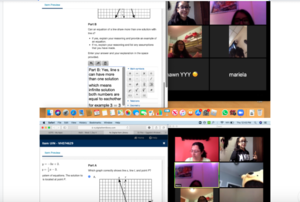 screen shot of teacher and students on zoom virtual class