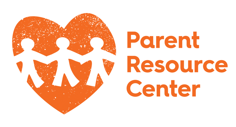 Orange heart with cut outs of people holding hands. Orange text reads Parent Resource Center on a white background.