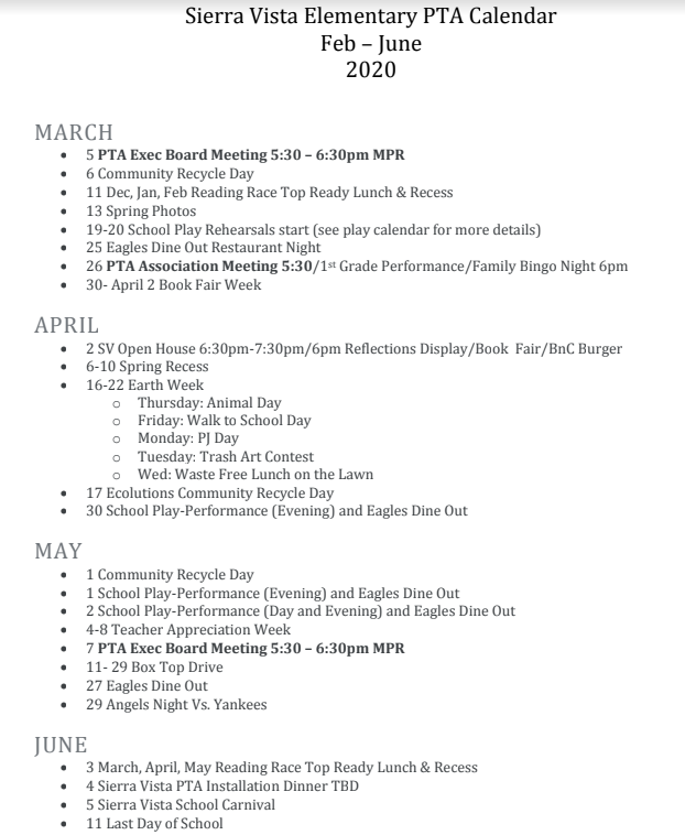Feb-June Calendar