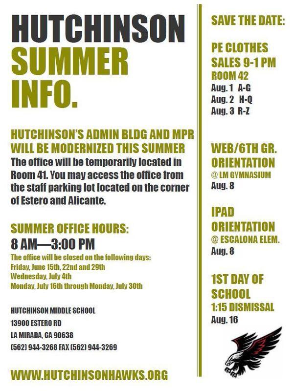 HUTCHINSON SUMMER INFO. *UPDATED* Featured Photo
