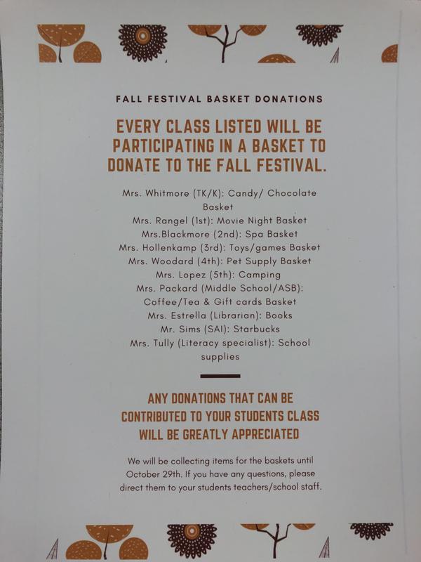 Fall Festival Raffle Baskets.