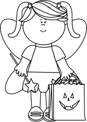 female character in costume holding halloween bag