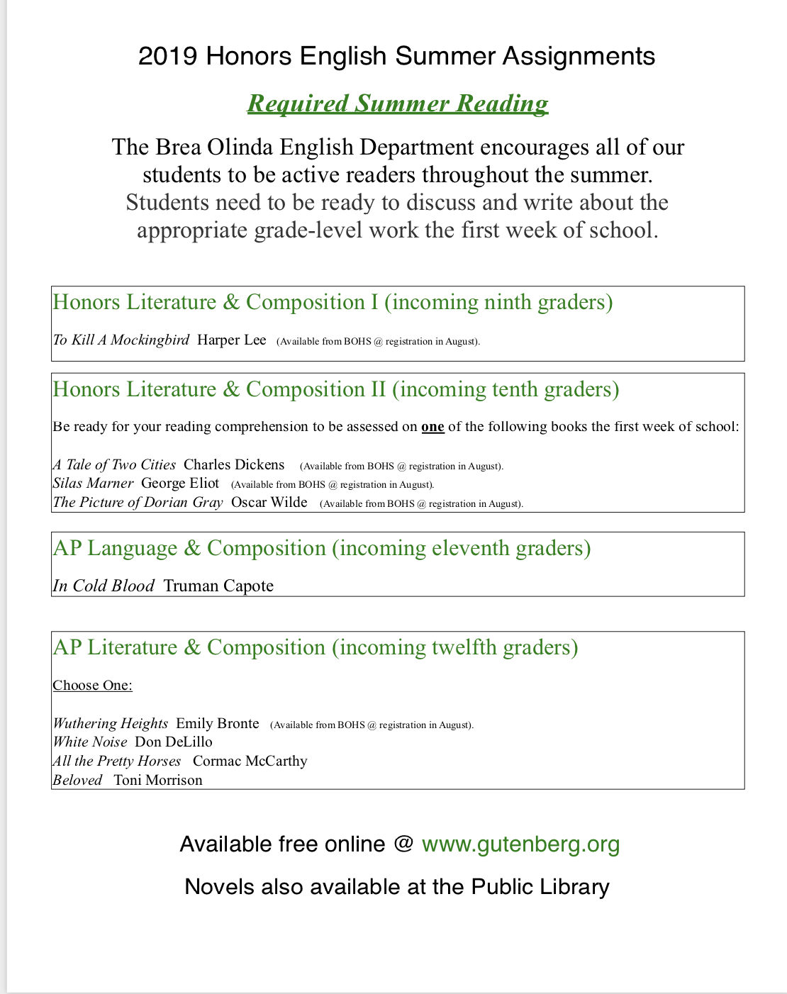 2019 Honors English Summer Assignments