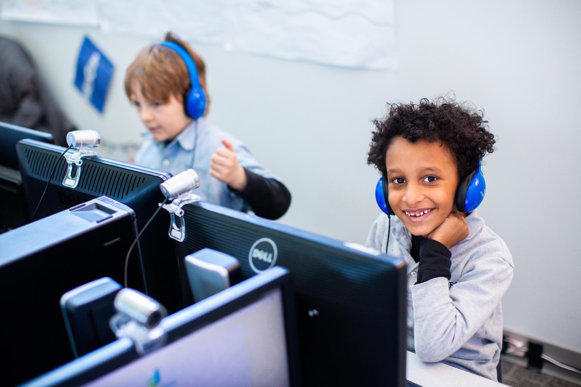 Scholar using a computer