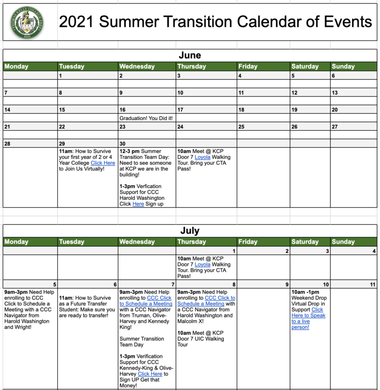 2021 Summer Transition Calendar of Events Featured Photo