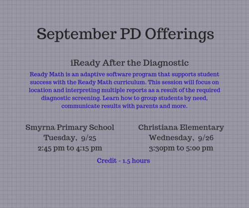September PD Sessions