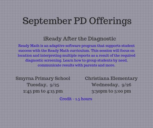 September PD Sessions