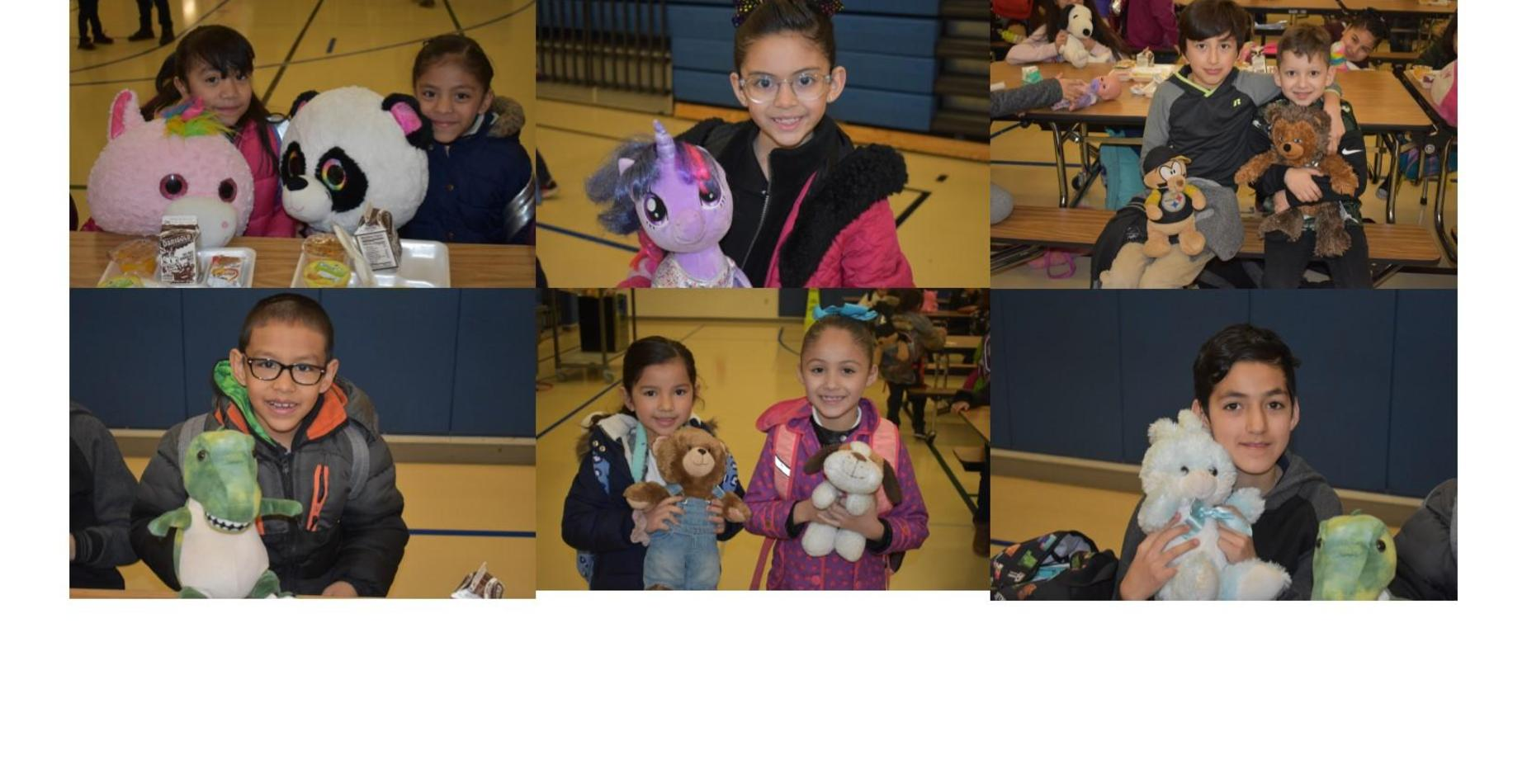 6 pictures of students holding their stuffed animals for stuffed animal day.  All students are smiling!