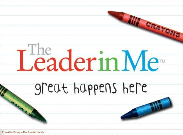 Leader in Me sign with crayons