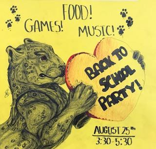 Picture of a Back-To-School party poster drawn by one of our students