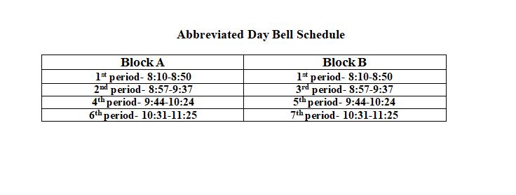 Abbreviated Day Schedule