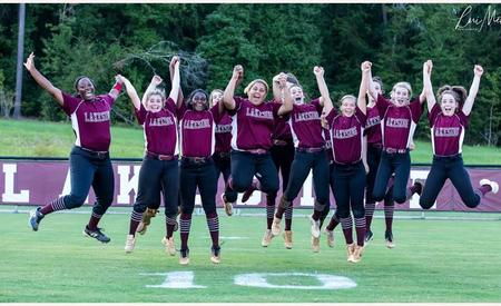 Softball Girls jumping and excited