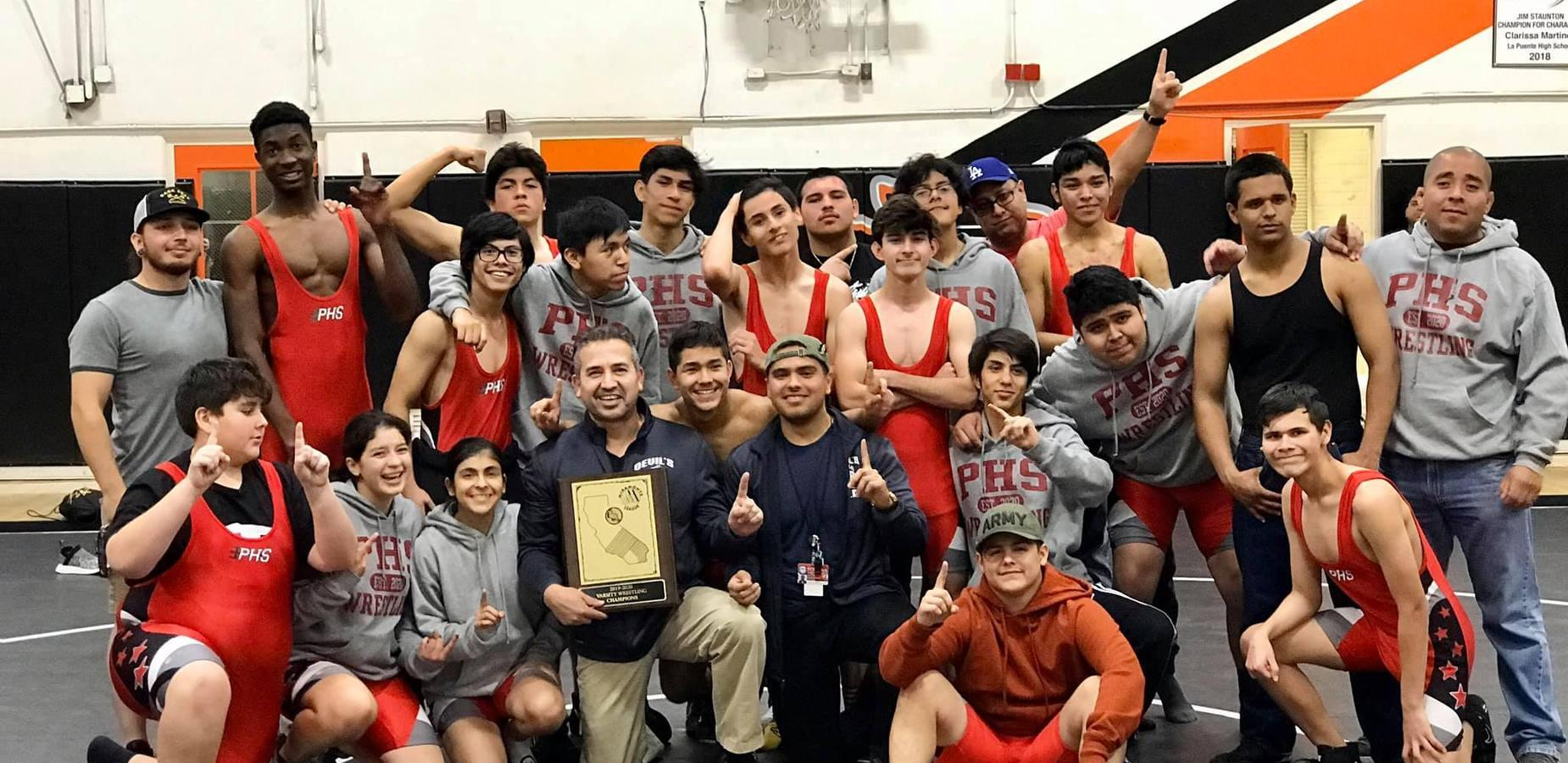 The Pomona High School Wrestling are the 2020 Miramonte League Champions! We are proud of your athletic success, Shout-out to our fearless coach and staff! #proud2bepusd #wrestling #pro #bigtime #GOAT