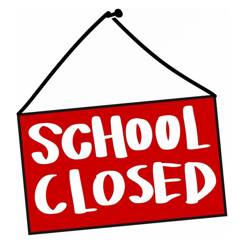 Red sign that reads school closed