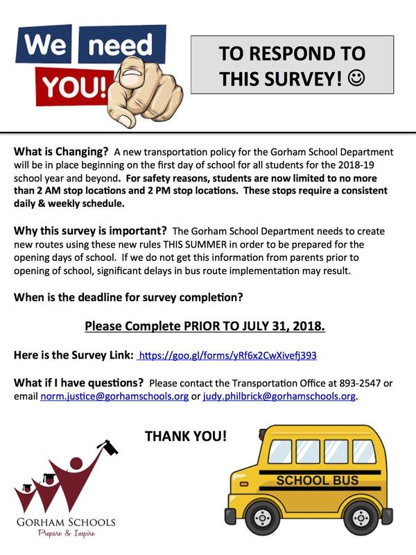 WE NEED YOUR RESPONSES TO OUR TRANSPORTATION SURVEY! Thumbnail Image