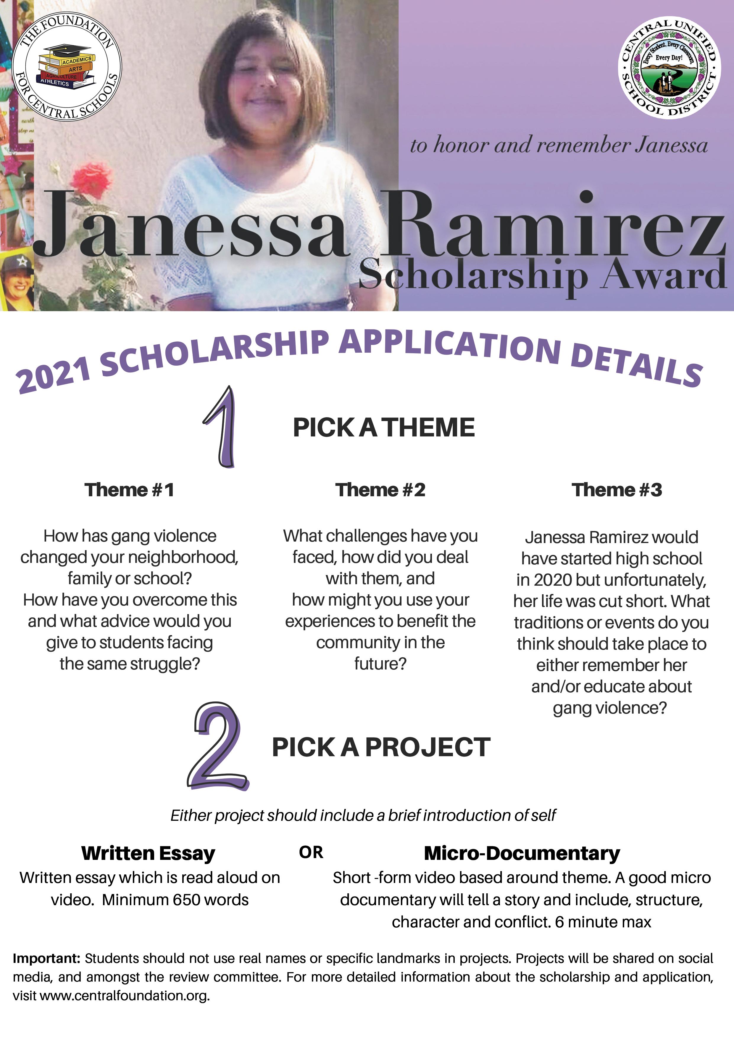 Janessa Ramirez Scholarship Guidlines