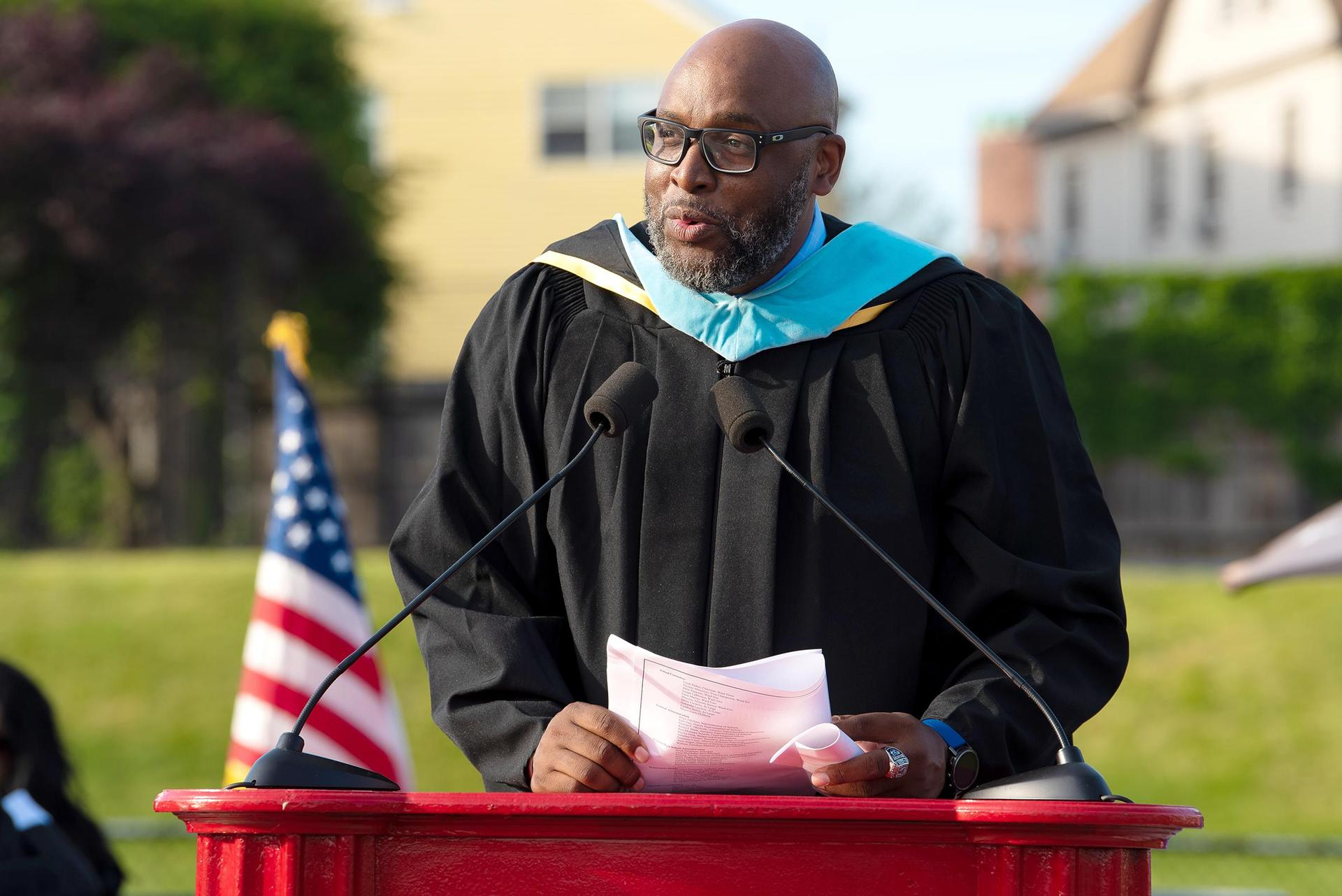 Vice Principal Cory McCarthy addresses the Class of 2021