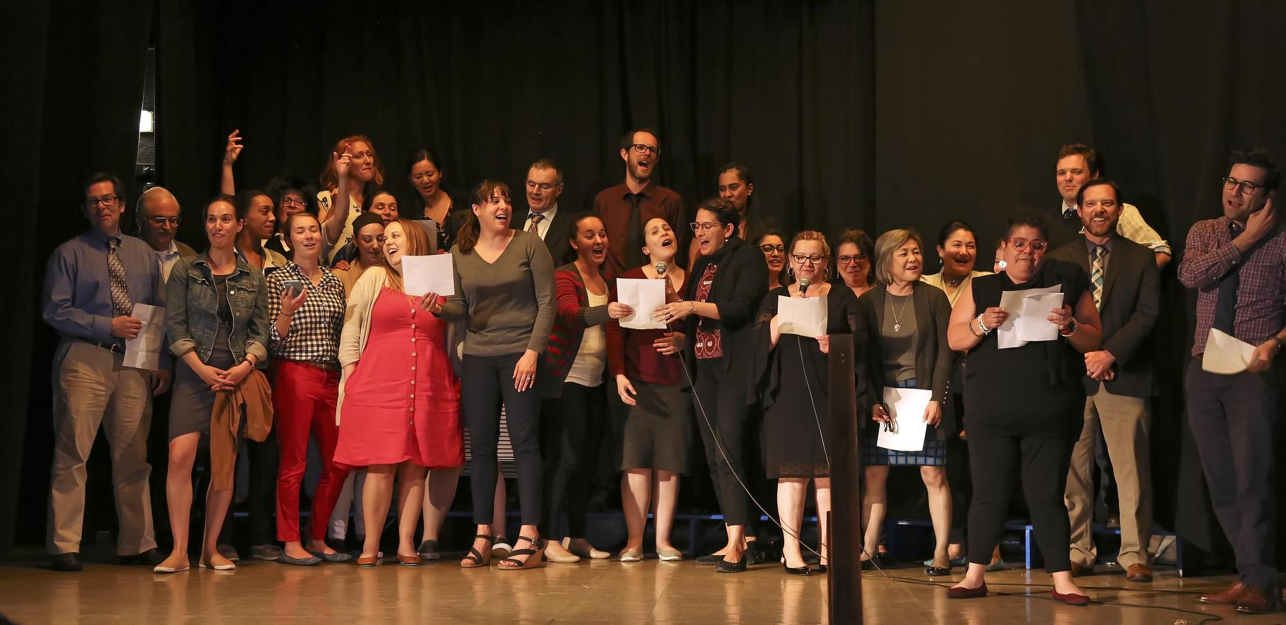 Faculty/Staff singing the closing song at Junior/Senior Farewell